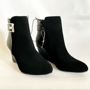 Black suade boots size 5 1/2